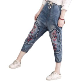 ヨーロッパ 米国風 レディース 刺繍 ウエストストレッチ スリム ジーンズ パンツ レディースジーンズペンシルパンツ 婦人用 エッジジーンズ スリムフィット ブルー 春夏 カーリング刺繍 刺繍チノパンツ XL ジーンズ