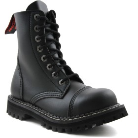 Angry Itch 8 Hole Black Combat Vegan Leather Army Ranger Boots Steel Toe Zip (EU 48)