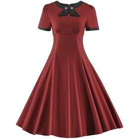 HongyuTing コットン純色セクシー レトロワンピース ドレス 1950年代欧風 長ワンピース レディースドレス 二次会 結婚式 お呼ばれ 発表会