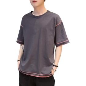 メンズ Tシャツ 半袖 綿 五分袖 無地 刺繍 シルエット おしゃれ ファッション 人気 6色 大きなサイズ