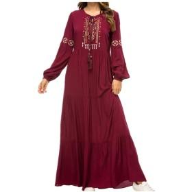 女性 アバヤ ローブ カフタン - 婦人長袖スイング マキシドレス プラスサイズのエレガントな刺繍カクテル ドレス M