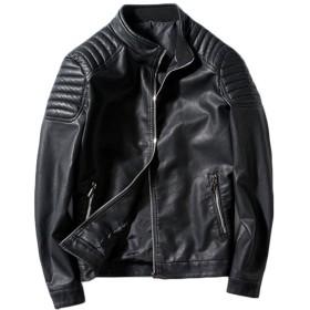 SANKE ライダースジャケット メンズ レザージャケット PUレザー 合成皮革 ブルゾン レザーライダース ブラック ブルー レッド 5サイズ 男性用ブラック3XL