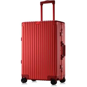 Lesigeカーボン柄 アルミ スーツケース TSAロック搭載 大容量 キャリーケース 軽量 キャリーバッグ 静音キャスター 無段階調節 180日保証付 旅行 出張 ビジネス用 (Sサイズ, 機内持込OK, レッド)