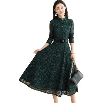春と秋 新しい婦人服 膝下ドレス 無地 ベルト スリムフィット 長袖 レースの花 ドレス ロングスカート 気質 貴族 スリム M-3XL (L, グリーン)