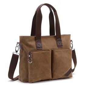 [Leverde] ショルダーバッグ メンズ A4 斜めがけ キャンバスバッグ トート 手提げ バッグ 帆布 2WAY ジャストサイズで充実収納力 (茶 ブラウン brown)