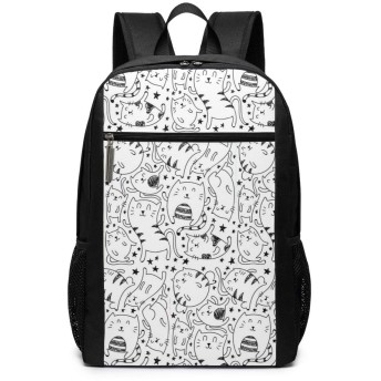 ShareBy リュック ビジネスリュック バックパック リュックサック 簡略の猫パターン 丈夫 17インチ 多機能 大容量 撥水加工 人気 学生 鞄 メンズ レディース 通勤 通学 出張 デイパック マザーパック 2019最新版