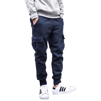 [ダーセン]パンツ メンズ ロングパンツ ミリタリー イージーパンツ 裏フリース 暖パン カーゴパンツ 裏 フリース 素材 メンズ ネイビーXL