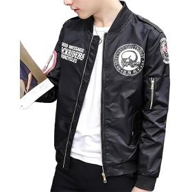 フライトジャケット メンズ ミリタリー ブルゾン ファッション カジュアル スタジャン ライダース バイク ライダーズ ジャケット 春 秋 冬 3色 ブラック XL
