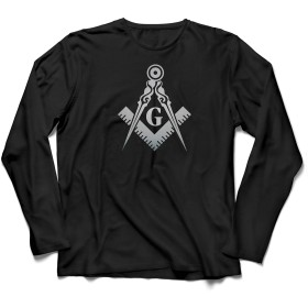 lepni.me 男性用長袖Tシャツ 兄とフリーメーソンのロゴ、フリーメーソンの広場とコンパス (L 黒 銀)