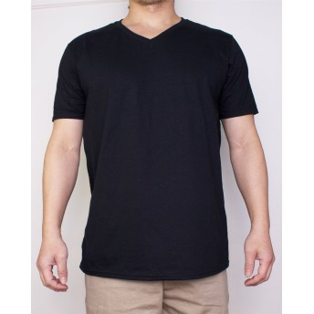 (ギルダン)GILDAN Vネック Tシャツ コットン XLサイズ Black