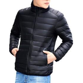 ダウンジャケット 超軽量 ウルトラライト 薄型 ダウン ポーチ付き 秋 冬 防寒 雪 ジャケット ダウンコート メンズ (ブラック-XXL)