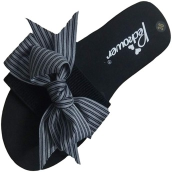 [GLYY] 3 CM 厚底 レディス ビーチサンダル ウェッジソール リボン フラット ーズ ちょう結び 女性用 ビーチサンダル 歩きやすい 黒 23cm
