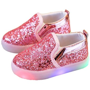 [Daclay] LED ライト シューズ キッズ レザー シューズ 女の子 点滅 ジュニア 上履き スリップオン 子供靴 キラキラ 輝く カジュアル 通学 シューズ (【25】15CM, ピンク)