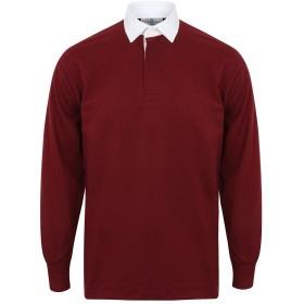 (フロント・ロウ) Front Row メンズ Classic 長袖 ラガーシャツ ポロシャツ (XL) (ディープバーガンディー/ホワイト)