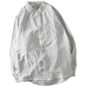 [LINGLU]メンズ シャツ ストライプ 長袖 大きいサイズ 紳士服 ブラウス カップル服 コットン シンプル トップス ハンサム カジュアル ビジネス 通勤 ワイシャツ 立ち襟 ジャケット ホワイト XL