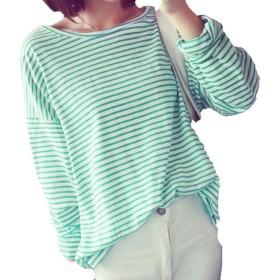 レディー半袖Tシャツトップス夏綿トップス長袖シャツ女性の緩いラウンドカラーストライプトップスレディースブルーXLレディーシャツトやわらか通気性ップス
