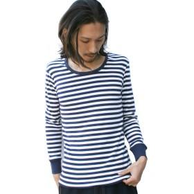 (ジーアールエヌ) grn 長袖 Tシャツ カットソー やわらかフィット フライス 9分袖 長袖 パックTee Uネック ロンT メンズ レディース ユニセックス (3(L), ネイビー×ナチュラル)