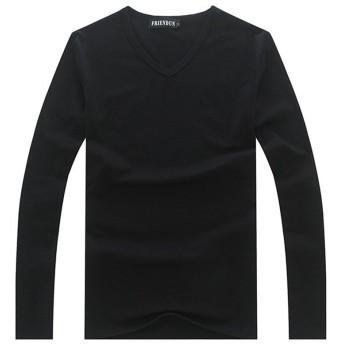 (ベストギフト) Bestgift メンズ 春 秋 ロング スリーブ 無地 Tシャツ ブラック2 M