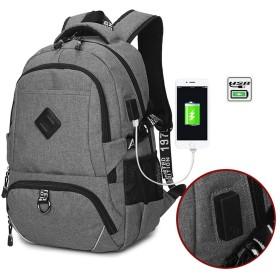 リュック usbポート付き 大容量多機能リュック 旅行バック 外部USB充電可能 PCバッグ 大学生バック 通学 旅行出張 通勤 収納力抜群多機能 おしゃれ 通気性 防水リュック 男女兼用 (グレー)