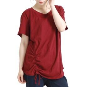 [マルイ] 大きいサイズ レディース トップス ドローコード Tシャツ カットソー ロング 半袖 ラウンドカット/ゴールドジャパン(大きいサイズ)(GOLDJAPAN)
