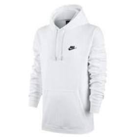 ナイキ メンズ パーカー Nike Club Fleece Pullover Hoodie プルオーバー フーディー White/White/Black_S [並行輸入品]