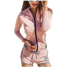 (アイリショップ)ilishop 水着 レデイース 体型カバー 長袖 4点セット UVカット セクシー ラッシュガード (ピンク)
