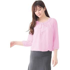 (アッドルージュ) AddRouge 胸元リボン&ブレード シフォン ブラウス トップス 8分袖 【b1126-146028】 LL 【A:バルーン】ピンク