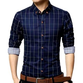 (ナガポ)NAGAPO メンズ チェック 柄 シャツ 長袖 カジュアル ワイシャツ 大きいサイズ も ビジネス ボタン (M, ネイビー)