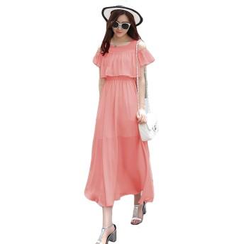 PIITE レディース ワンピース シフォン ロングワンピース 純色 肩出し マキシワンピース 夏 学生ドレス オフショルダー フレアワンピース ゆったり 韓国ファッション 可愛いオレンジ7