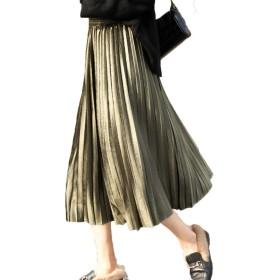 [CAIXINGYI] ゴールドベルベット プリーツスカート スカート 秋 冬 女性 ベルベットスカート ロングスカート ハイウエスト レディーズ 中・長セクション (M, グリーン)