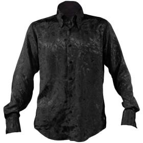 サテンシャツ ドレスシャツ ドゥエボットーニ 無地 スナップダウン 花柄 薔薇 バラ柄 ジャガード 日本製 長袖 メンズ ブラック黒 161222 L