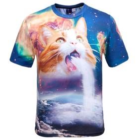Wiboyjpメンズ3DネコTシャツ3Dシャツ春夏ストリートスウェットTシャツ猫柄プリントヒップホップおもしろサマーおしゃれトレント半袖Tシャツサマーデザイン