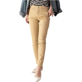 [クロスマーベリー] スタイルアップ 伸縮 ストレッチ カラーデニム パンツ 美脚 美尻 楽ちん 大人 カジュアル シンプル デザイン かっこいい おしゃれ スキニー ジーンズ ジーパン レディース 女性 ガールズ 大きいサイズ (S02 ベージュ M)
