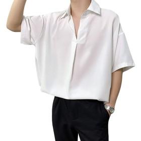 [YACORESYA(夜行列車)] スキッパーオープンカラーシャツ メンズ 無地 半袖 tシャツ ゆったり 大きいサイズ S-4XL カジュアル オーバーサイズ ビッグシルエット 涼しい ベーシック