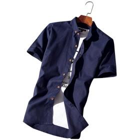 メンズスリムシャツ 半袖 ボタンアップ XL ネイビー