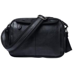 MINIBA ショルダーバッグ メンズ 柔らかいレザー 横型 メッセンジャーバッグ ブラック 斜めがけ 自転車 鞄 アウトドア 小型 スポーツ バッグ黒