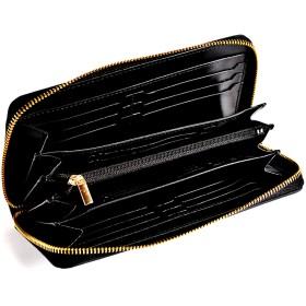 Sincere 長財布 メンズ カード 18枚収納 大きく開く 内外ツートンカラー 財布 さいふ ながざいふ 取り出しやすい 小銭入れ 大容量 ラウンドファスナー 長さいふ 【正規品】 プレゼント (ブラック×ブラック)