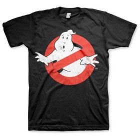 Officially Licensed Ghostbusters Distressed Logo 3XL,4XL,5XL Mens T-Shirt (Black), 5X-Large