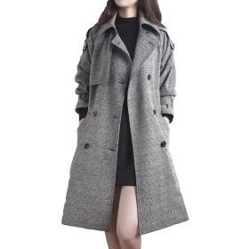 (ニカ)レディース ラシャ コート 秋 冬 防風 スリム アウター ファッション カジュアル ゆったり 着れる ボタン ダッフルコートグレーT2