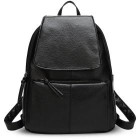 NICOLE&DORISファッション感たっぷりバックパック かっこいい大学生通学バッグ 旅行リュックサック おしゃれな肩掛けバッグ カジュアルショルダーバッグ レディース 大容量 防水 PUレザー 黒3
