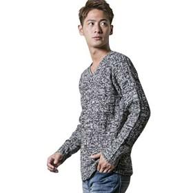 (アドミックス アトリエサブメン) ADMIX ATELIER SAB MEN メンズ ニット セーター 変則編みVネックセーター 02-51-6900 50(L) グレー(12)