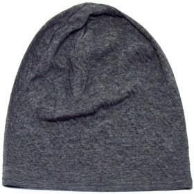 ソフトガーゼ オーガニックコットン ワッチ ニット帽子 オールシーズン 医療用帽子 ショートビーニー (L, 98/ブラック1裏ボーダー)
