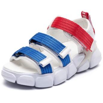 [ホビベアー] キッズサンダル 子供靴(ホワイト/ブルー 33)