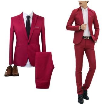 GETS(ゲッツ) スーツ メンズ 2点セット スリーピース 上下セット ジャケット スラックス セットアップ1つボタン ビジネススーツ スリム 着心地良い 礼服 結婚式 就職スーツ オールシーズン シンプルデザイン スタイリッシュスーツ パーティー スーツ (レッド,L)
