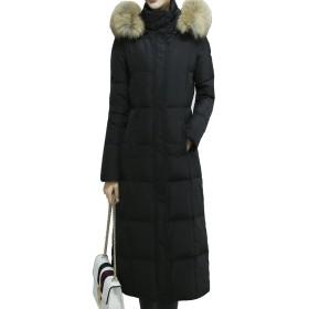 ダウンジャケットコート レディース 冬 ダウンコートロング ダウンコート 軽量 防寒 ダウン ジャケット 防寒 フード付き (XL, ブラック)