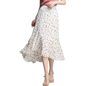 (レコーン) Lecoon シフォンスカート レディース 花柄 Aライン 裏地あり 体型カパー 春夏 エレガント ウエストゴム かわいい 着痩せ