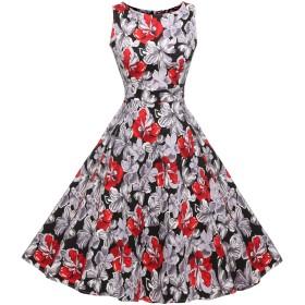 (ジアグー) Zeagoo レディース ワンピース ドレス Aライン ノースリーブ リボンベルト付 花柄 結婚式 パーティー 大きいサイズ対応