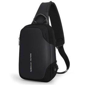 SBOYS(エスボーイズ) ショルダーバッグ メンズ ワンショルダー USB充電ポート付属 撥水加工 ボディバッグ 裏ポケット付き 9.7インチiPad収納 軽量 高級感 左右掛け 大人気 斜め掛けバッグ アウトドア スポーツ 登山 旅行 (ブラック)