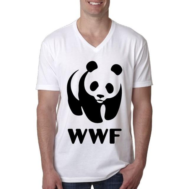 WWF 保護 協会 Panda Tシャツ メンズ 半袖 カットソー V領 吸汗速乾 ファッションプリント 快適な 無地 V領 ストリート カジュアル