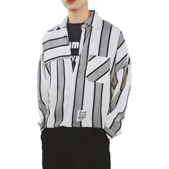 [ヒロリア] シャツ 長袖 ストライプ 柄 ゆったり カジュアル メンズ (S, グレー)